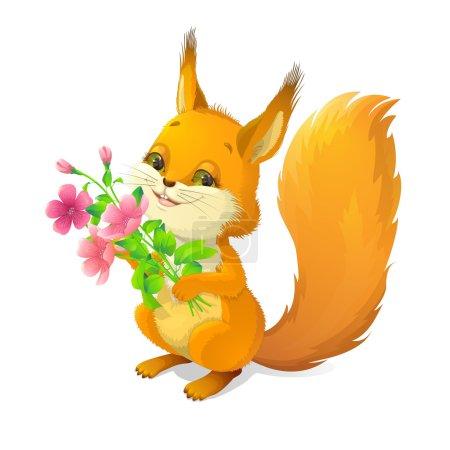 Photo pour Illustration sur fond blanc avec l'image d'un écureuil joyeux avec un bouquet de fleurs . - image libre de droit