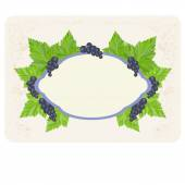 Label for your text with pink outline with a picture of leaves and berries black currants located on the perimeter of the shape on a textured light background Growing processing selling