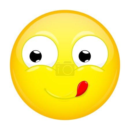 Lèche les lèvres emoji. Bonne émotion. Émoticône délicieux. Illustration vectorielle icône sourire .