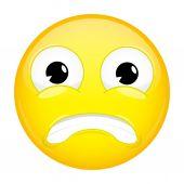 Shock emoji Surprise emotion Puzzled emoticon Vector illustration smile icon