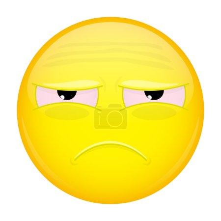 Tired emoji. Sad emotion. Unhappy emoticon. Vector illustration smile icon.