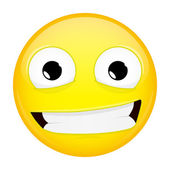 Usměvavá emoji. Úšklebek emoce. Emotikona úsměv. Vektorové ilustrace smajlíka