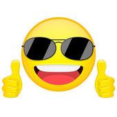 Dobrý nápad emoji. Palec nahoru emoce. Cool chlapík s sluneční brýle emotikonu. Vektorové ilustrace smajlíka