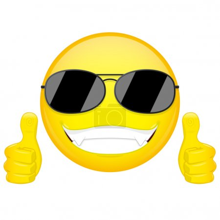 Illustration for Good idea emoji. Thumbs up emotion. Cool guy with sunglasses emoticon. - Royalty Free Image