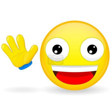 Bonjour émoticône. Emoticon agite sa main. Joyeux émoticône. Émoji agréable. Heureuse émotion. Illustration vectorielle icône sourire .