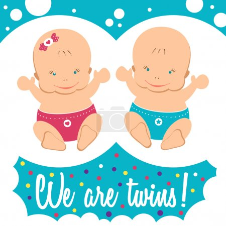Illustration for Happy twins. Boy and girl. Newborn twin babies. Greeting card. Vector cute cartoon twins. Twin kids isolated. - Royalty Free Image