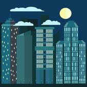 Night city skyline urban landscape in flat style vector illustration