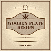 Old styled wooden plate with decorative elements wild west theme