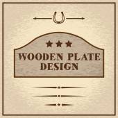 Old styled wooden plate with decorative elements wild west them