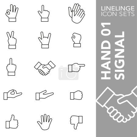 Premium stroke icon set of hand gesture, hand signal and finger sign 01. Linelinge, modern outline symbol collection