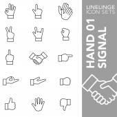 Premium stroke icon set of hand gesture hand signal and finger sign 01 Linelinge modern outline symbol collection
