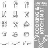 Premium stroke icon set of kitchen cooking and food 01 Linelinge modern outline symbol collection