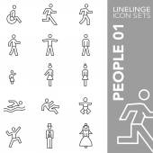 Premium stroke icon set of people human and facilities 01 Linelinge modern outline symbol collection