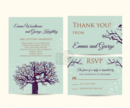 Illustration for Winter wedding invitation set - Royalty Free Image