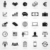 Obchodní ikony na bílém pozadí v plochý. Jednoduchý vektor