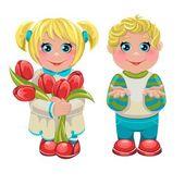vector girl and boy