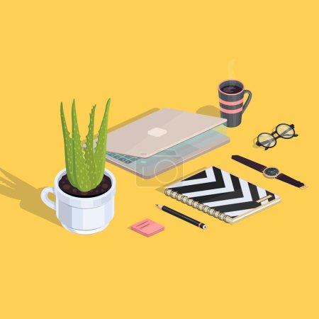Illustration pour Illustration isométrique vectorielle d'un espace de travail hipster - image libre de droit