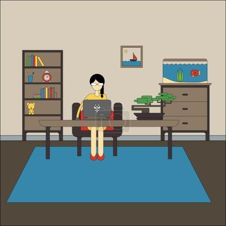Illustration pour Conception plate de l'espace de travail avec la femme porte des lunettes de travail sur ordinateur portable. Illustration vectorielle de l'intérieur moderne du bureau à domicile avec rack, aquarium, commode, fauteuil, bonsaï, image . - image libre de droit