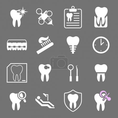 Set of white flat dental icons. Types of dental clinic services, equipment for dental care, dental treatment and prosthetics. Children's dentistry.