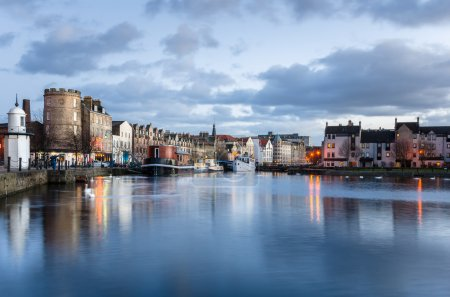 Photo for Leith Harbour lined with Historic Buidlings on a Cloudy Winter Day. Edinburgh, Scotland. - Royalty Free Image