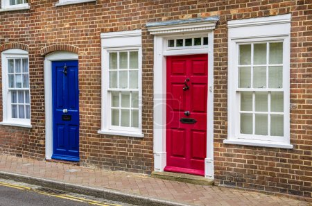 Traditional Colourful Doors on a Brick House