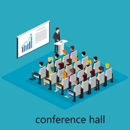 isometric interior of conference hall