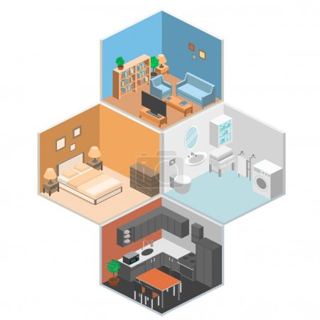 Illustration for Set of isometric interior rooms of the house. - Royalty Free Image