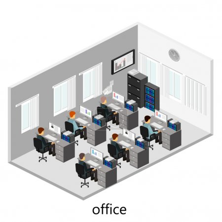 3d isometric office interior