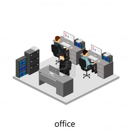 3d isometric office interior