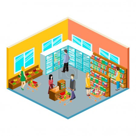 Isometric interior of grocery store. Shopping mall...