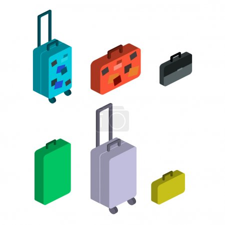 Illustration for Travel suitcases. Isometric objects. Flat design. 3d illustration. - Royalty Free Image