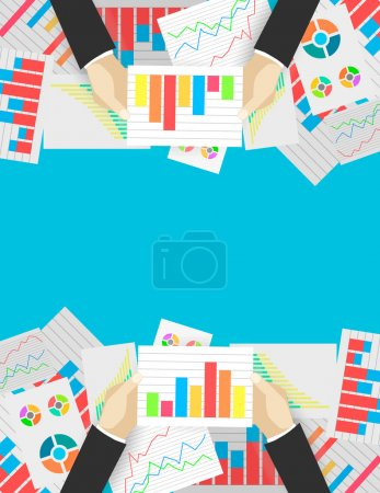 Illustration for Business analytics and financial audit. Flat illustration - Royalty Free Image