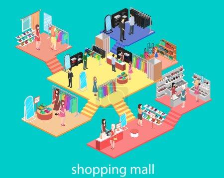 Illustration pour Intérieur isométrique du centre commercial. Illustration vectorielle 3D plate . - image libre de droit