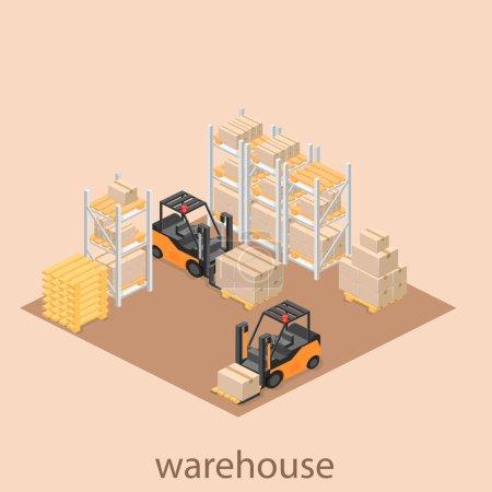 isometric interior of warehouse.