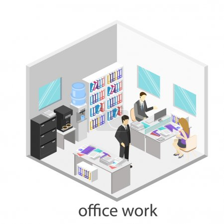 Flat 3d isometric abstract office floor interior departments con