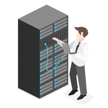 Illustration pour Intérieur isométrique de la salle des serveurs. Illustration 3D plate . - image libre de droit