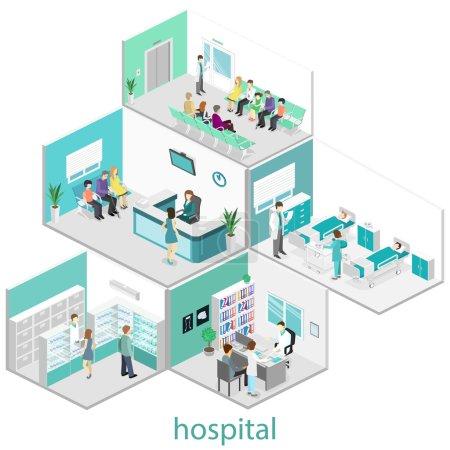 Isometric flat interior of hospital rooms