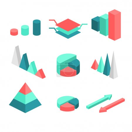 Illustration for Isometric flat 3D infographic elements with data icons and design elements. Vector illustration - Royalty Free Image
