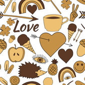 Hand drawn coffee palette doodle seamless repeated pattern vector illustration coffee apple ice cream heart arrow rainbow clover love acorn lollipop feather hedgehog pineapple isolated on white background