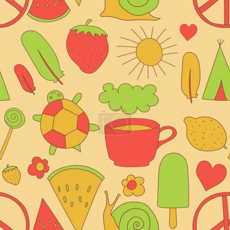 hand drawn doodles pattern vector illustration coffee cup, sun, ice cream, heart, cloud, rainbow, turtle, feather, pacific, snail, wigwam, watermelon, strawberry isolated on white background