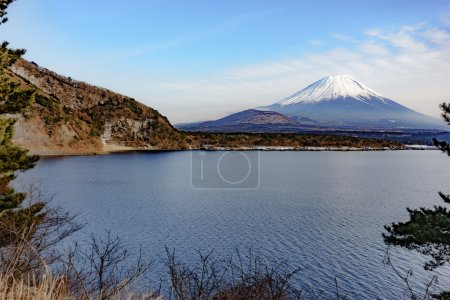 The beautiful Fuji mountain form the five peaceful lake in winter. Japan