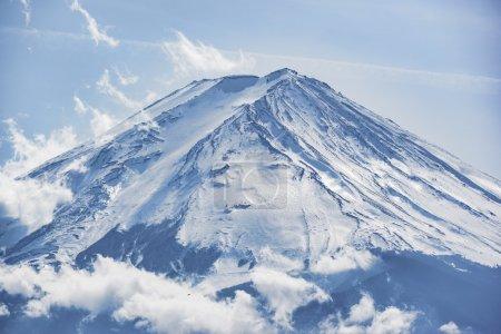 The beautiful Fuji mountain form the five peaceful lake in winter. Japan