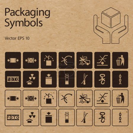 Vector packaging symbols on vector cardboard background