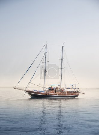 Wooden Sailing boat in read sea