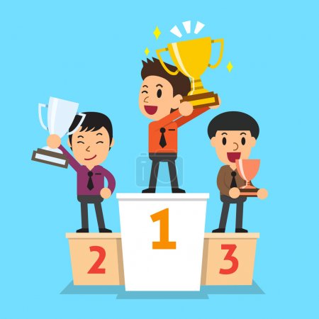 Illustration for Businessmen winner standing on a podium and holding up winning trophies for design. - Royalty Free Image