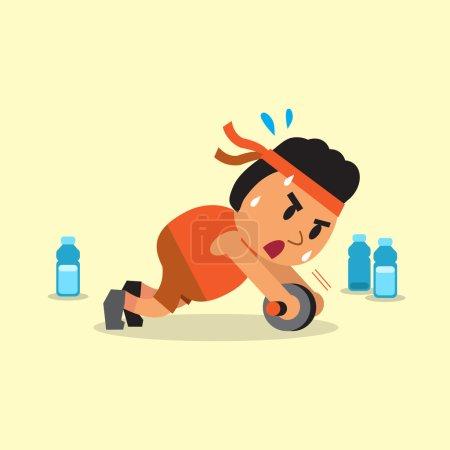 Illustration pour Dessin animé gros homme faisant ab roue exercice de déploiement pour la conception . - image libre de droit