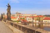 Castello di Praga e fiume di Valtava