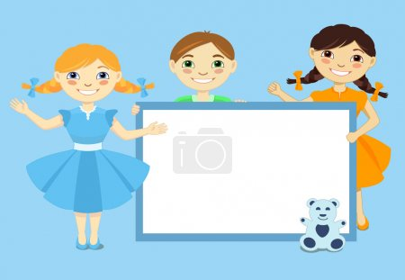 Smiling little kids show a blank poster for your text entry. Vector illustration of funny children on blue background.