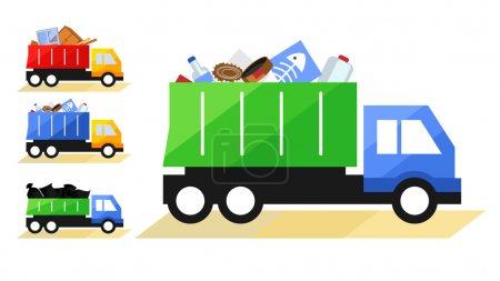 Vector illustration of Garbage Truck. Isolated lorry with various kinds of trash on white background.
