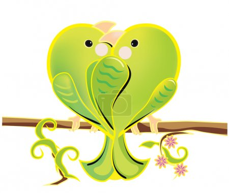 Vector illustration of a love couple of green parrots. The romantic cartoon budgerigars sitting on a branch. Bright enamored birds on white background.